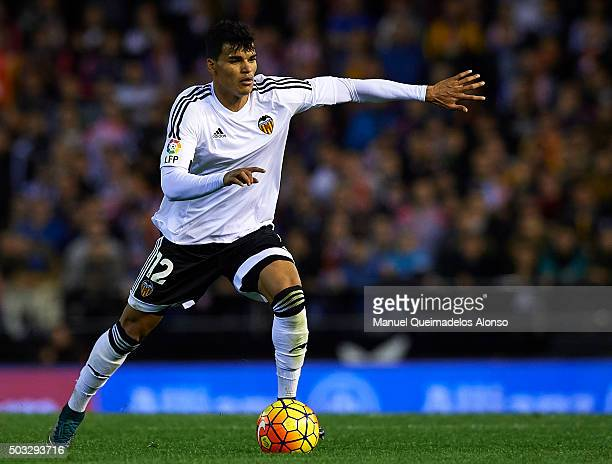 Danilo Barbosa of Valencia in action during the La Liga match between Valencia CF and Real Madrid CF at Estadi de Mestalla on January 03 2016 in...