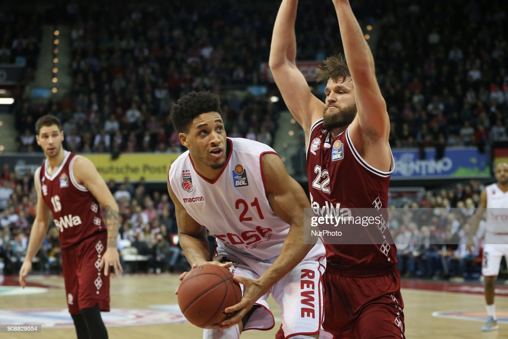 Danilo Barthel of Bayern Muenchen vies Augustine Rubit of Brose Baskets Bamberg during the Quarterfinal match in the BBL Pokal 2017/18 between FC Bayern Basketball and Brose Baskets Bamberg at the Audi Dome on January 21,2018.