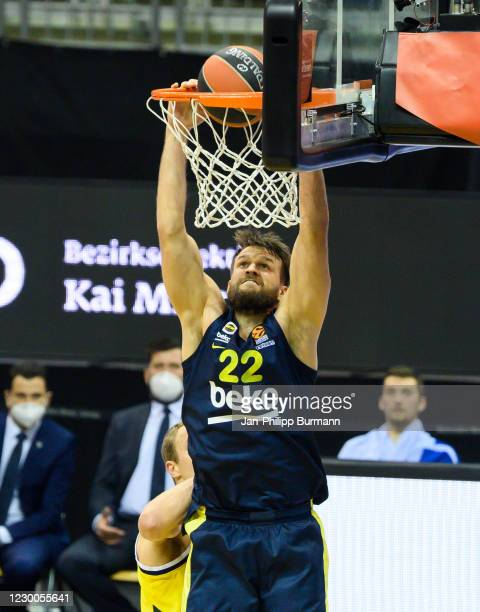 Danilo Barthel of Fenerbahce Istanbul dunks the ball during the game between Alba Berlin and Fenerbahce Istanbul at the Mercedes-Benz Arena on...