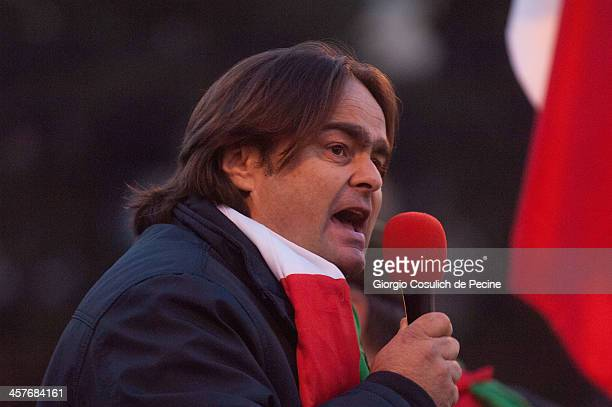 Danilo Calvani, one of the leaders of the Forconi Movement gives a speech during a demonstration at Piazza del Popolo on December 18, 2013 in Rome,...