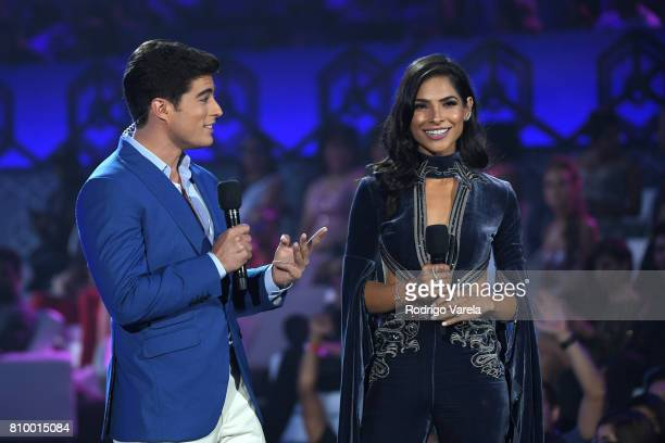 Danilo Carrera and Alejandra Espinosa speak on stage at the Univision's 'Premios Juventud' 2017 Celebrates The Hottest Musical Artists And Young...