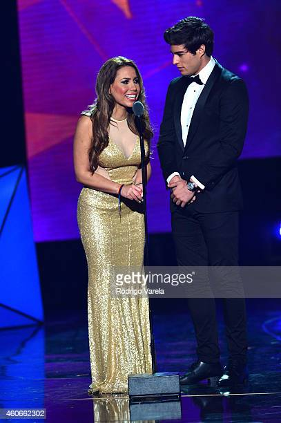 Danilo Carrera and Lindsay Casinelli onstage at the inaugural Premios Univision Deportes backstage at Univision Studios on December 18 2014 in Miami...