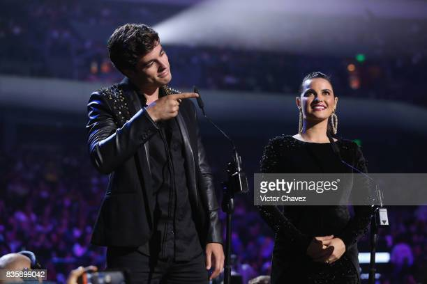 Danilo Carrera and Maite Perroni speak onstage during the Nickelodeon Kids' Choice Awards Mexico 2017 at Auditorio Nacional on August 19 2017 in...