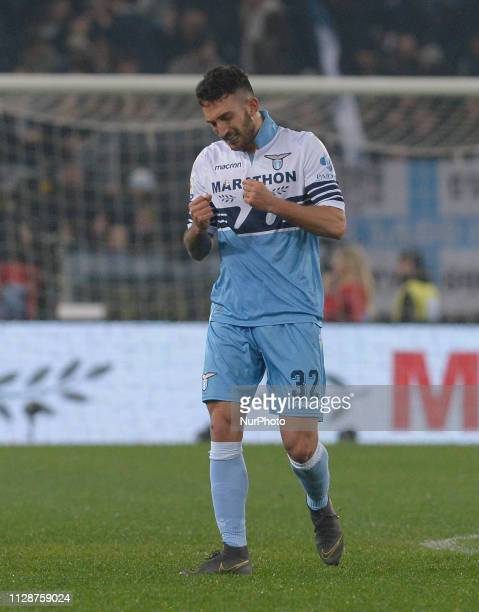 Danilo Cataldi celebrates after scoring goal 30 during the Italian Serie A football match between SS Lazio and AS Roma at the Olympic Stadium in Rome...