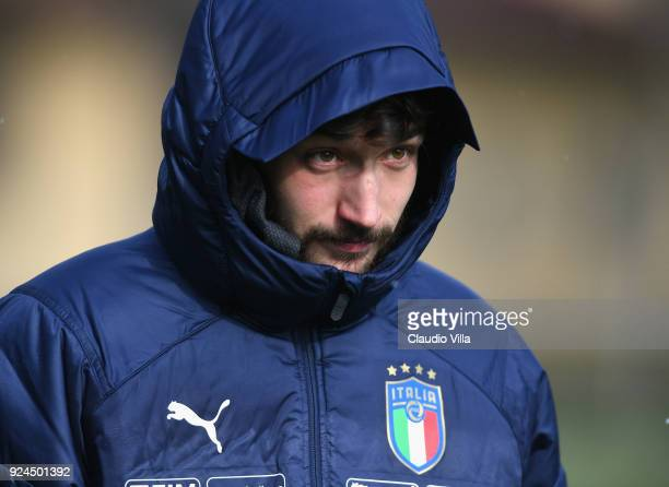 Danilo Cataldi of Italy looks on during a training session at Italy club's training ground at Coverciano at Coverciano on February 26 2018 in...