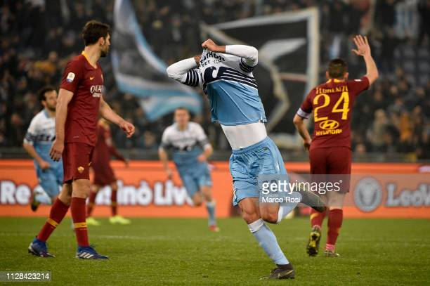 Danilo Cataldi of SS Lazio celebrates e third goal during the Serie A match between SS Lazio and AS Roma at Stadio Olimpico on March 2, 2019 in Rome,...