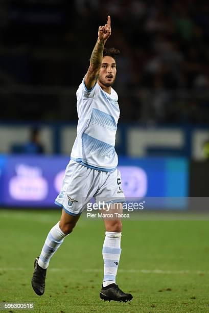 Danilo Cataldi of SS Lazio celebrates his first goal during the Serie A match between Atalanta BC and SS Lazio at Stadio Atleti Azzurri d'Italia on...
