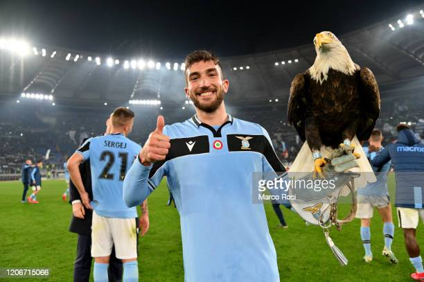 Danilo Cataldi of SS Lazio celebrates winning after the Serie A match between SS Lazio and FC Internazionale at Stadio Olimpico on February 16 2020...