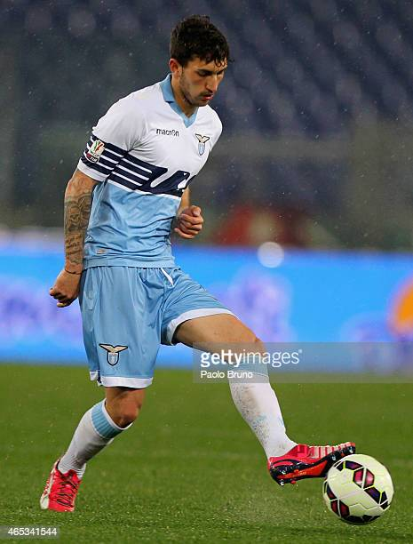 Danilo Cataldi of SS Lazio in action during the TIM Cup match between SS Lazio and SSC Napoli at Stadio Olimpico on March 4 2015 in Rome Italy