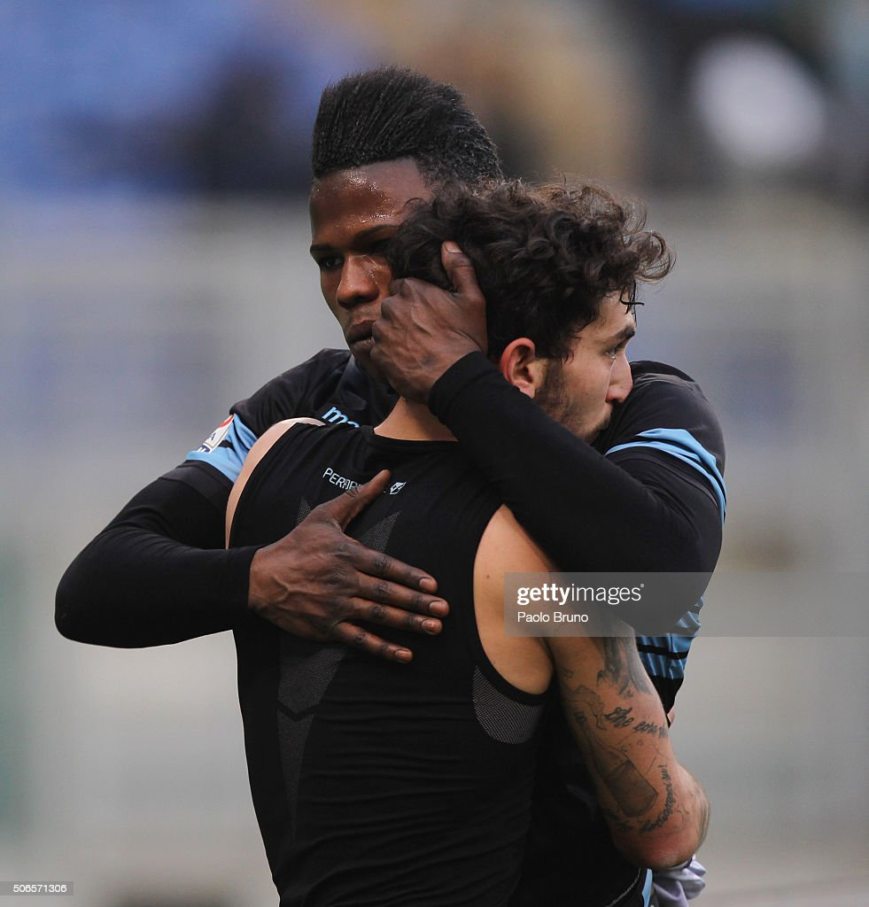 Danilo Cataldi with his teammate Diao Balde Keita of SS Lazio celebrates after scoring the team's second goal during the Serie A match between SS Lazio and AC Chievo Verona at Stadio Olimpico on January 24, 2016 in Rome, Italy.