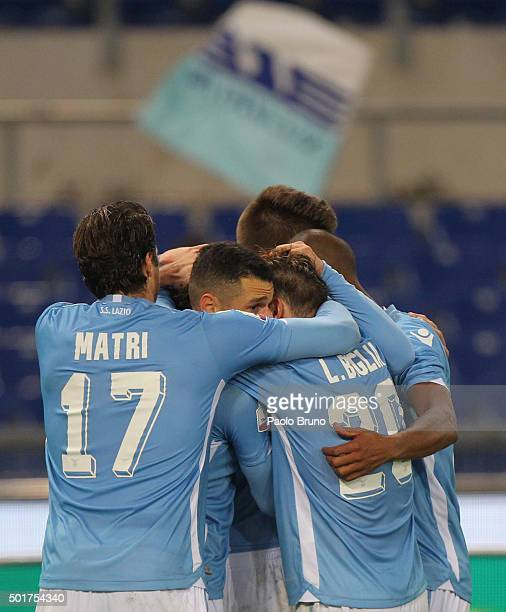 Danilo Cataldi with his teammates of SS Lazio celebrates after scoring the team's second goal during the TIM Cup match between SS Lazio and Udinese...