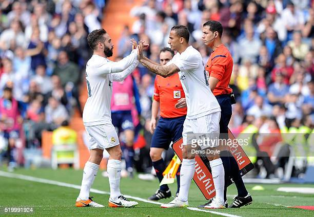 Danilo comes on for Dani Carvajal of Real Madrid during the La Liga match between Real Madrid and Eibar at Estadio Santiago Bernabeu on April 9 2016...