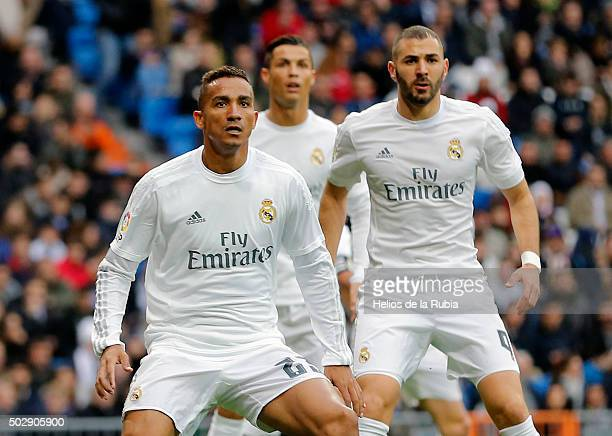 Danilo Cristiano Ronaldo and Karim Benzema of Real Madrid looks on during the La Liga match between Real Madrid CF and Real Sociedad at Estadio...