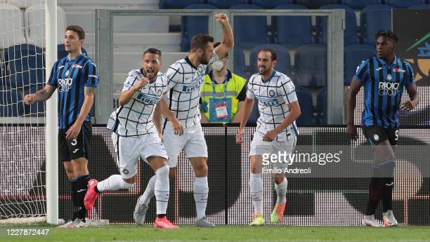 Danilo D Ambrosio of FC Internazionale celebrates after scoring the opening goal during the Serie A match between Atalanta BC and FC Internazionale...