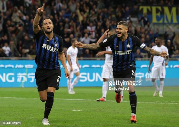 Danilo D Ambrosio of FC Internazionale celebrates his goal with his teammate Mauro Emanuel Icardi during the Serie A match between FC Internazionale...