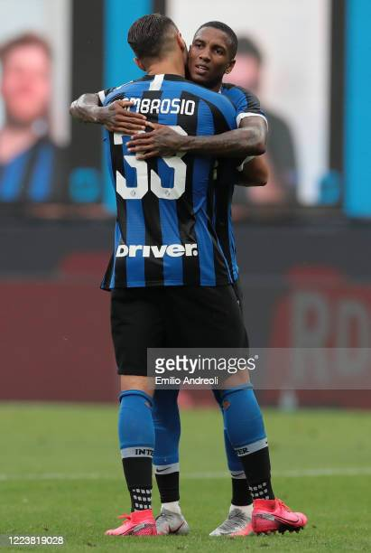 Danilo D Ambrosio of FC Internazionale celebrates his goal with his team-mate Ashley Young during the Serie A match between FC Internazionale and...
