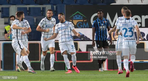 Danilo D Ambrosio of FC Internazionale celebrates with his teammates after scoring the opening goal during the Serie A match between Atalanta BC and...
