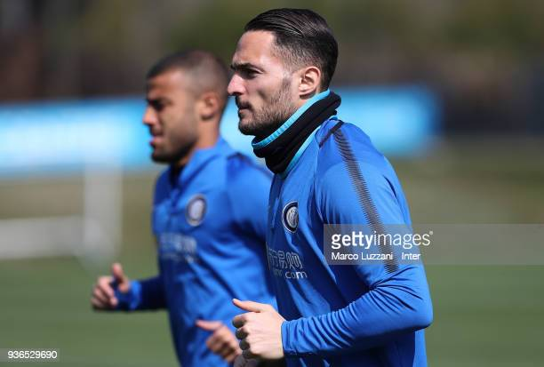 Danilo D Ambrosio of FC Internazionale looks on during the FC Internazionale training session at the club's training ground Suning Training Center in...