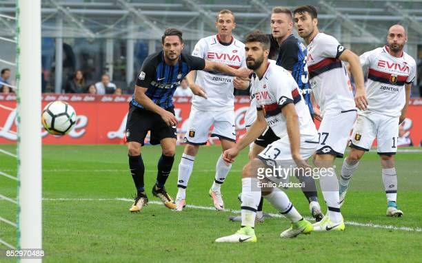 Danilo D Ambrosio of FC Internazionale Milano scores the opening goal during the Serie A match between FC Internazionale and Genoa CFC at Stadio...