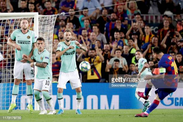 Danilo D Ambrosio of Internazionale Lautaro Martinez of Internazionale Alexis Sanchez of Internazionale Lionel Messi of FC Barcelona during the UEFA...