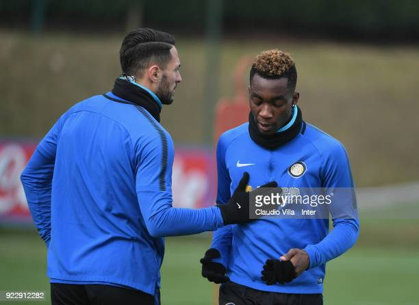 Danilo D'Ambrosio 9L and Yann Karamoh of FC Internazionale look on during the FC Internazionale training session at Suning Training Center at Appiano...