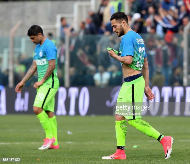 Danilo D'Ambrosio and Ever Banega of Inter show their dejection during the Serie A match between FC Crotone and FC Internazionale at Stadio Comunale...
