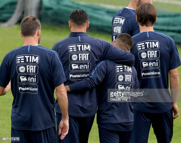 Danilo D'Ambrosio and Lorenzo Insigne of Italy during a training session at Italy club's training ground at Coverciano on October 3 2017 in Florence...