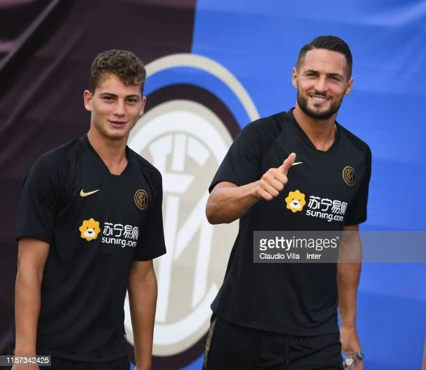 Danilo D'Ambrosio and Sebastiano Esposito of FC Internazionale in action during a FC Internazionale training session on July 23 2019 in Nanjing