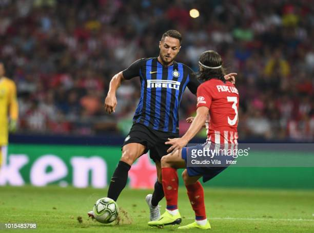 Danilo D'Ambrosio of FC Internazionale and Filipe Luís of Atletico Madrid compete for the ball during the International Champions Cup 2018 match...