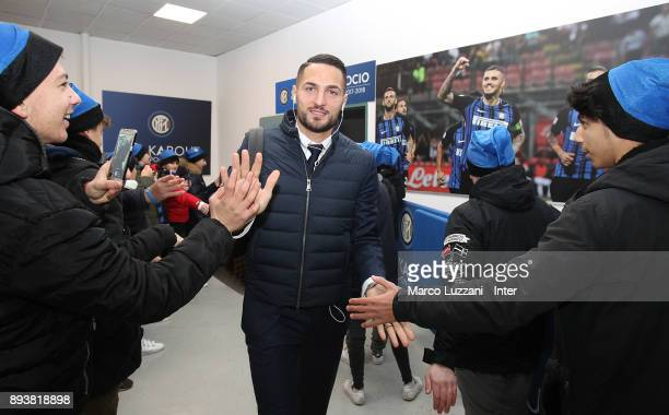 Danilo D'Ambrosio of FC Internazionale arrives prior to the Serie A match between FC Internazionale and Udinese Calcio at Stadio Giuseppe Meazza on...