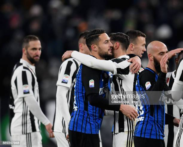 Danilo D'Ambrosio of FC Internazionale celebrates at the end of the Serie A match between Juventus and FC Internazionale on December 9 2017 in Turin...