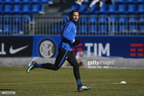 Danilo D'Ambrosio of FC Internazionale in action during the FC Internazionale training session at Suning Training Center at Appiano Gentile on...