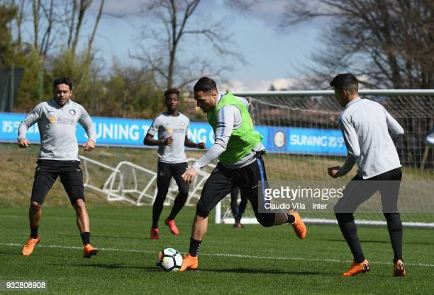 Danilo D'Ambrosio of FC Internazionale in action during the FC Internazionale training session at the club's training ground Suning Training Center...