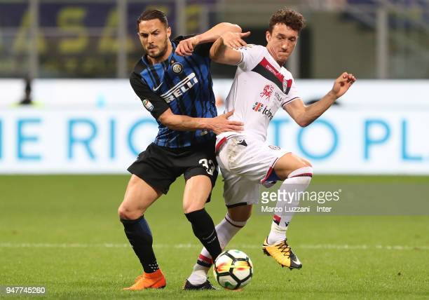 Danilo D'Ambrosio of FC Internazionale in action during the serie A match between FC Internazionale and Cagliari Calcio at Stadio Giuseppe Meazza on...