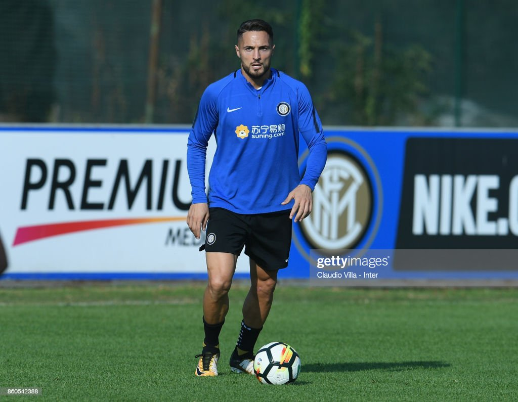 Danilo D'Ambrosio of FC Internazionale in action during the training session at Suning Training Center at Appiano Gentile on October 12, 2017 in Como, Italy.