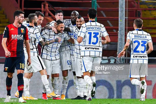 Danilo DAmbrosio of Inter celebrates with his team-mates after scoring a goal during the Serie A match between Genoa CFC and Fc Internazionale at...