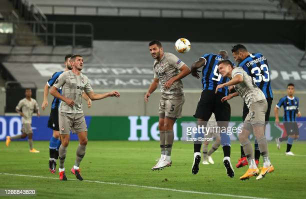 Danilo D'Ambrosio of Inter Milan scores his team's second goal during the UEFA Europa League Semi Final between Internazionale and Shakhtar Donetsk...