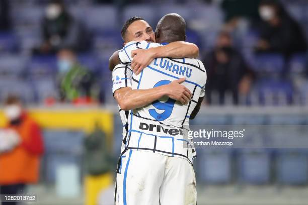 Danilo D'Ambrosio of Internazionale celebrates with team mate Romelu Lukaku after scoring to give the side a 2-0 lead during the Serie A match...