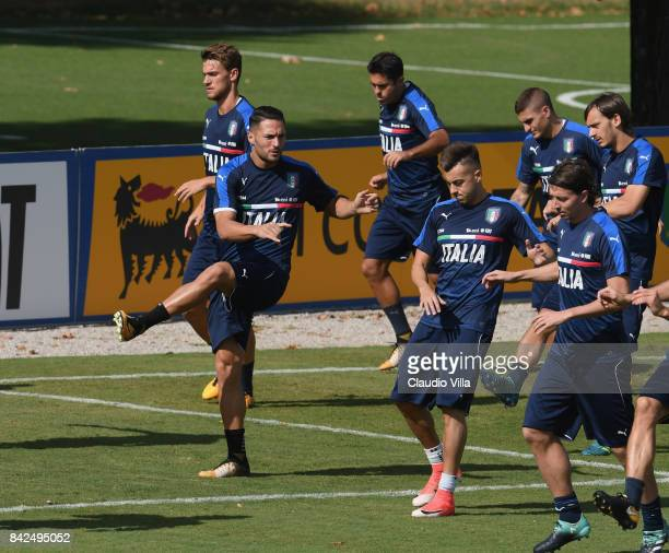 Danilo D'Ambrosio of Italy in action during the training session at Italy club's training ground at Coverciano on September 04 2017 in Florence Italy