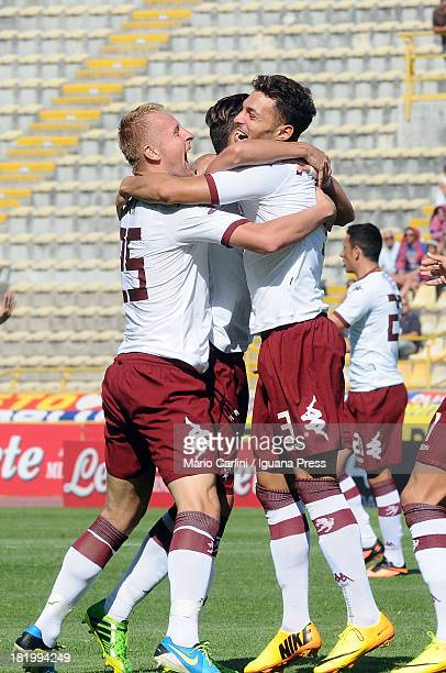 Danilo D'ambrosio of Torino FC celebrates after scoring his team's first goal during the Serie A match between Bologna FC and Torino FC at Stadio...