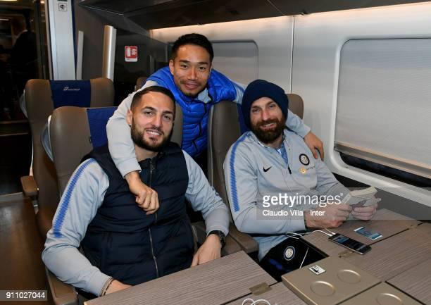 Danilo D'Ambrosio Yuto Nagatomo and Tommaso Berni of FC Internazionale start with the train for Ferrara on January 27 2018 in Milan Italy