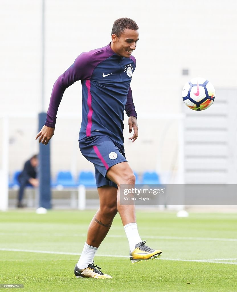 Danilo during training at Manchester City Football Academy on August 25, 2017 in Manchester, England.