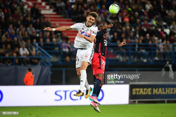 Danilo Fernando Avelar of Amiens and Herve Bazile of Caen during the Ligue 1 match between SM Caen and Amiens SC at Stade Michel D'Ornano on...