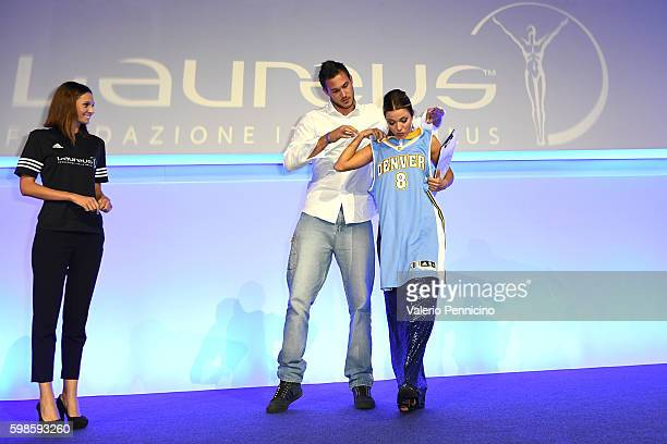 Danilo Gallinari and Federica Masolin attend during the Laureus F1 Charity Night at the MercedesBenz Spa on September 1 2016 in Milan Italy