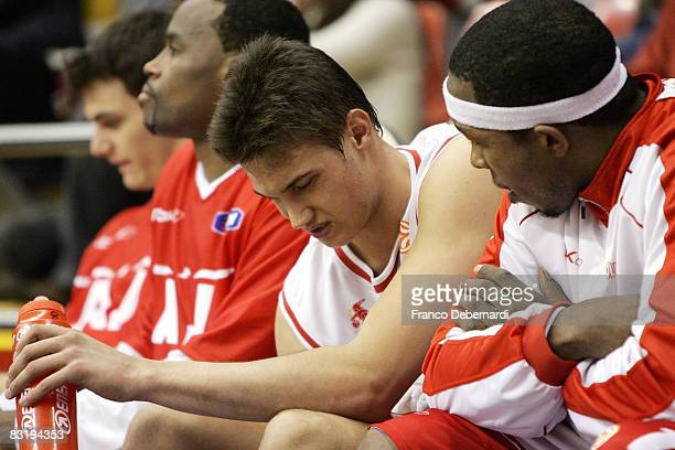 Danilo Gallinari and Melvin Booker of Armani Jeans Milano dejected during the Euroleague Basketball game 9 between Armani Jeans Milano v Efes Pilsen...