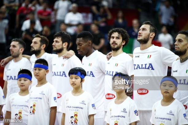Danilo Gallinari and team mates of the Italy National Team looks on before the match against the Angola National Team during the 1st round of 2019...