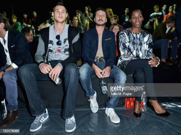 Danilo Gallinari, Luca Bizzarri and Fiona May attend the Iceberg Spring/Summer 2013 fashion show as part of Milan Womenswear Fashion Week on...