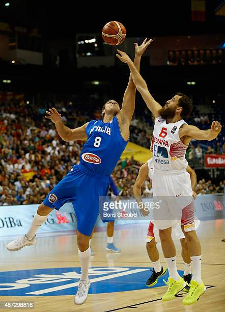 Danilo Gallinari of Italy is blocked by Sergio Rodriguez of Spain during the FIBA EuroBasket 2015 Group B basketball match between Spain and Italy at...