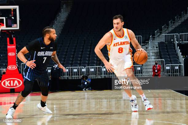 Danilo Gallinari of the Atlanta Hawks drives to the basket against the Orlando Magic during a preseason game on December 11, 2020 at State Farm Arena...