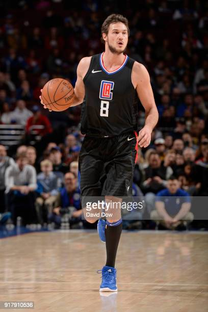 Danilo Gallinari of the LA Clippers dribbles the ball up court against the Philadelphia 76ers at Wells Fargo Center on February 10 2018 in...